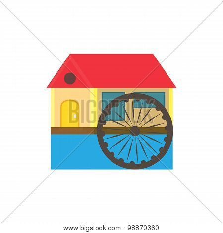 Eco Color In A Flat Style House With A Red Roof And A Water Wheel On The River On A White Background