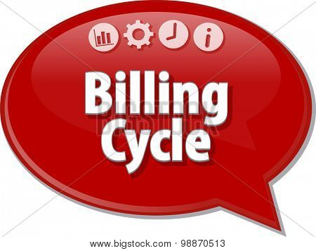 Speech bubble dialog illustration of business term saying Billing Cycle