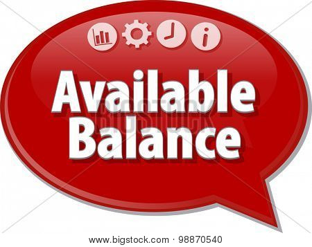 Speech bubble dialog illustration of business term saying Available Balance