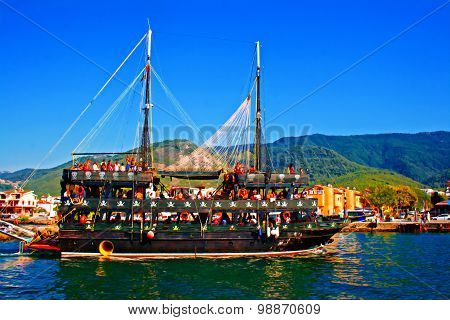 A Turkish Gulet Cruise Boat On The Aegean Sea, Digital Painting With Canvas Texture