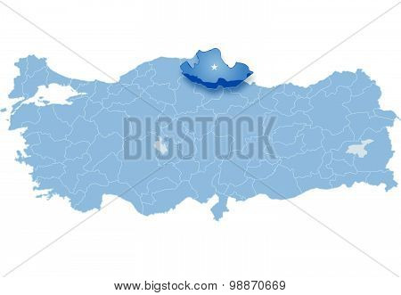 Map Of Turkey, Samsun