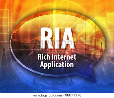 Speech bubble illustration of information technology acronym abbreviation term definition RIA Rich Internet Application