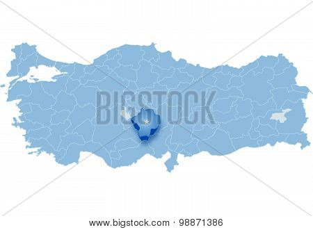 Map Of Turkey, Nigde