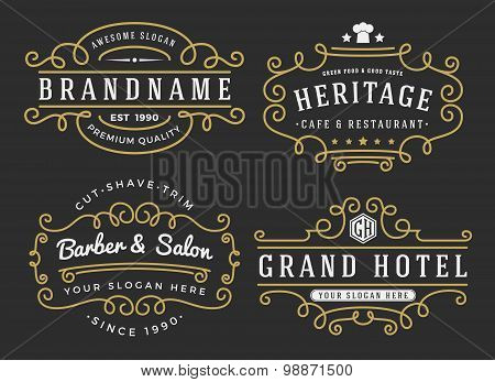 Flourish frame for labels, banner, logo, emblem, menu, sticker and other design