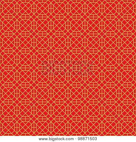 Golden seamless Chinese style window tracery square polygon geometry pattern background.