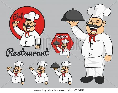 Happy chef cartoon mascot thumbs up and hold the dish.