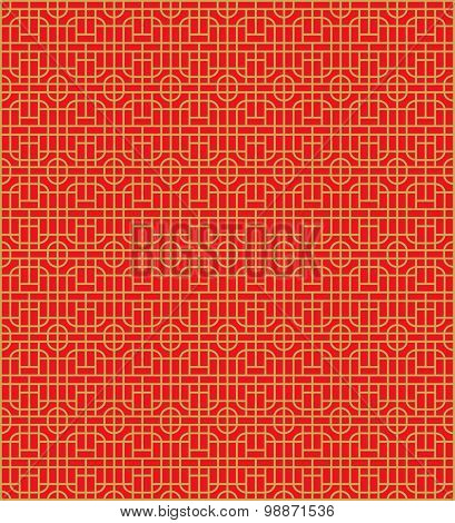 Golden seamless Chinese window tracery lattice round square pattern background.