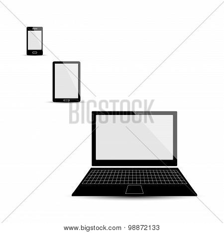 Mobile Phone, Pad And Laptop Isolated Set, Black Color