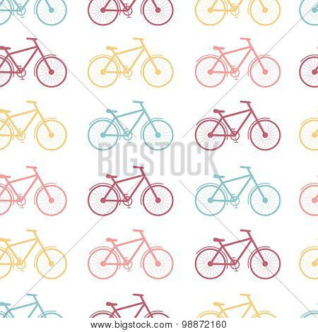 Seamless pattern of colored bicycles