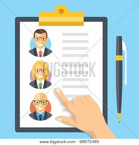 Human resources, employment, team management flat illustration concepts