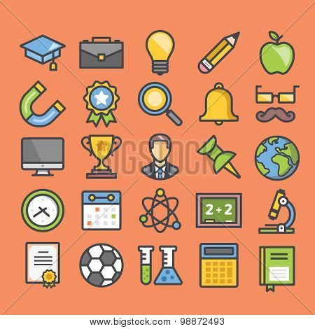 Education flat line icons set with for web and mobile apps