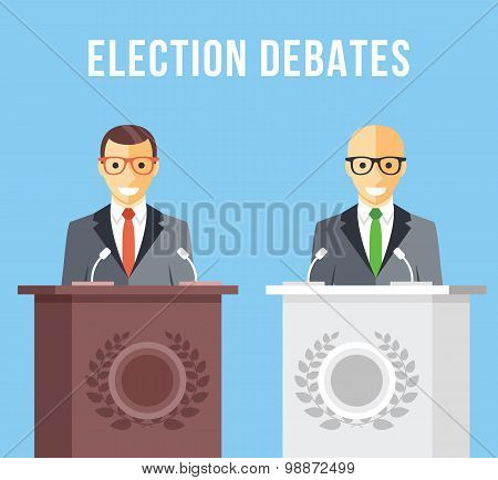 Election debates, dispute, social discussion flat illustration concepts