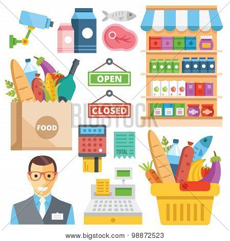 Supermarket equipment, food assortment, food retail flat icons set
