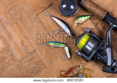 Top Fishing Baits Wobblers, Rod With Reel