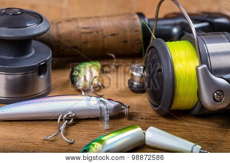 Closeup Fishing Baits Wobblers With Reel