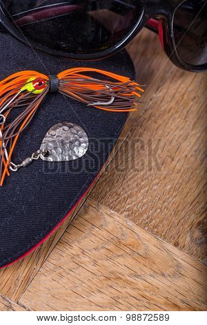 Fishing Lure Bait With Cap And Sunglass