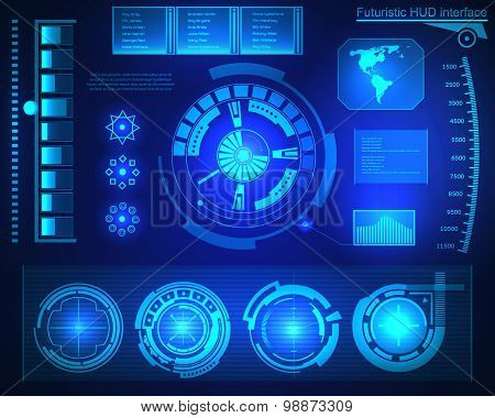 Abstract future, concept vector futuristic blue virtual graphic touch user interface HUD. For web, s