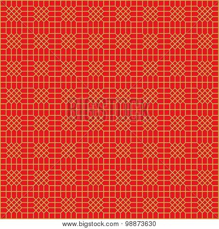 Golden seamless Chinese window tracery polygon diamond geometry pattern background.