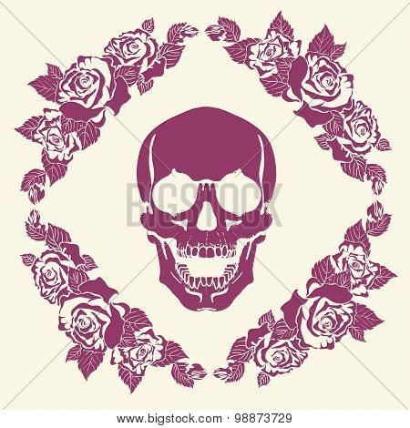 Skull in the frame of roses