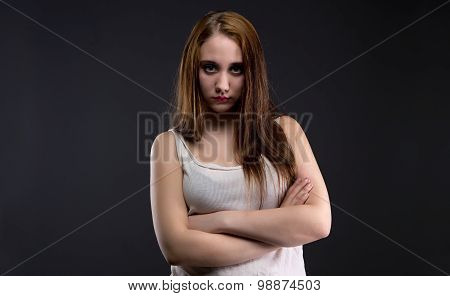 Photo of brunette girl with dirty shirt