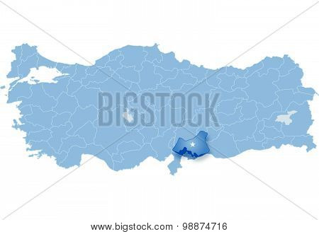Map Of Turkey, Gaziantep