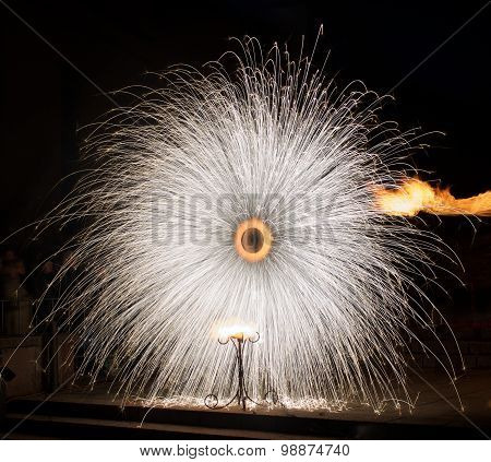 Vilnius, Lithuania, fireworks isolated in dark background close up with the place for text, 4 July