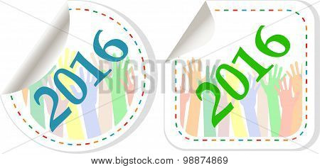 New Year 2016 Icon Set. New Years Symbol Original Modern Design For Web And Mobile App On White Back