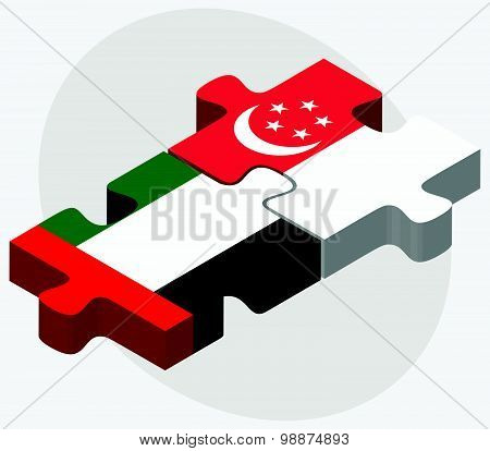 United Arab Emirates And Singapore Flags