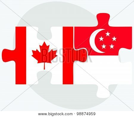 Canada And Singapore Flags