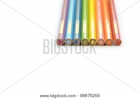Rainbow pencils color vertical alignment in white background
