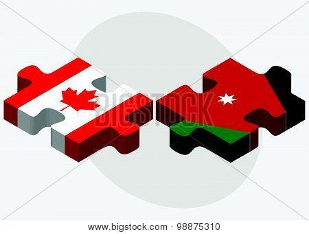 Canada And Jordan Flags