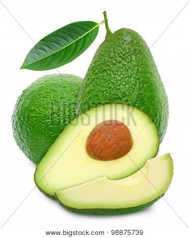Two avocado and slices