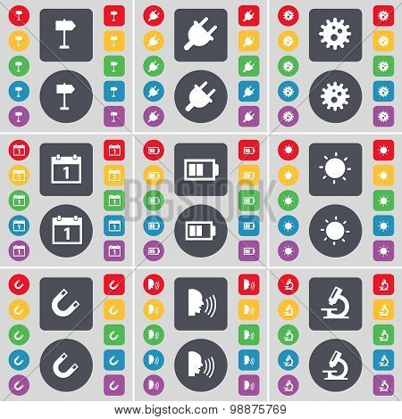 Signphone, Socket, Gear, Calendar, Battery, Light, Magnet, Talk, Microscope Icon Symbol. A Large Set