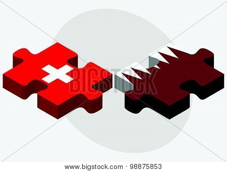 Switzerland And Qatar Flags