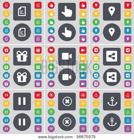 Text File, Hand, Checkpoint, Gift, Film Camera, Share, Pause, Stop, Anchor Icon Symbol. A Large Set