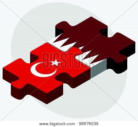 Turkey And Qatar Flags