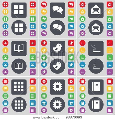 Apps, Chat, Message, Book, Bird, Cigarette, Apps, Processor, Notebook Icon Symbol. A Large Set Of Fl