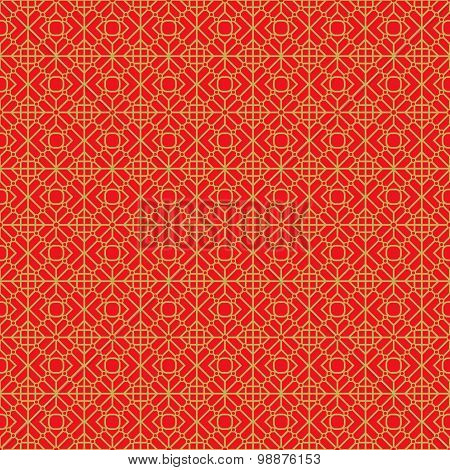 Golden seamless Chinese window tracery geometry round diamond pattern background.