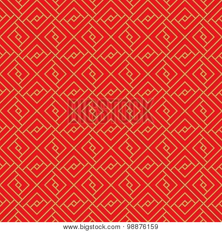 Golden seamless Chinese window tracery lattice geometry square pattern background.