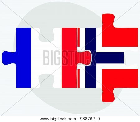 France And Norway Flags