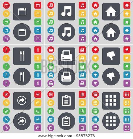 Calendar, Note, House,, Fork And Knife, Printer, Dislike, Back, Survey, Apps Icon Symbol. A Large Se
