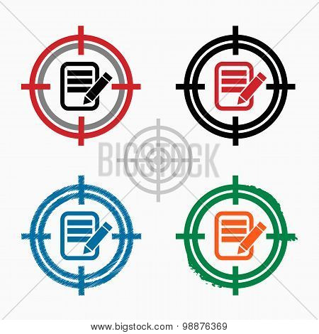 Document Icon On Target Icons Background.