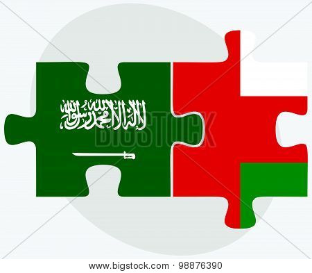 Saudi Arabia And Oman Flags