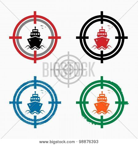 Ship Icon On Target Icons Background