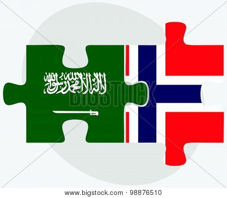 Saudi Arabia And Norway Flags