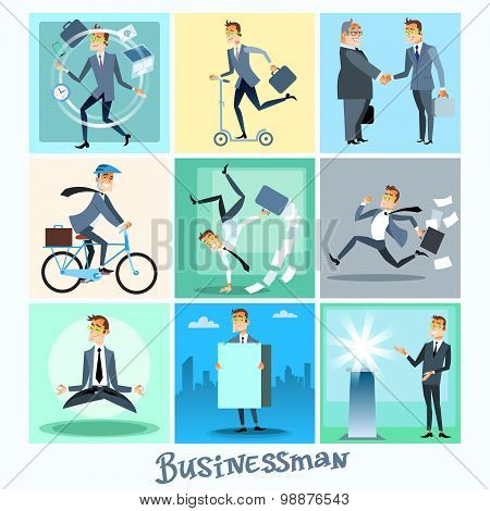 Set businessman collection business situations