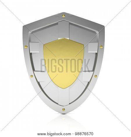 Shiny silver shield symbol isolated on white background
