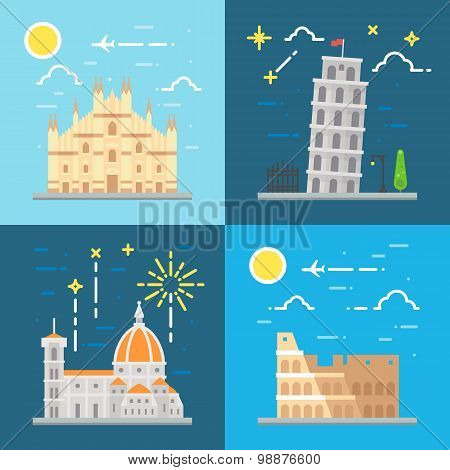 Flat Design Italy Landmarks Set