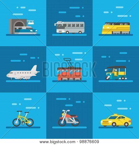 Travel Vehicles Set Flat Design