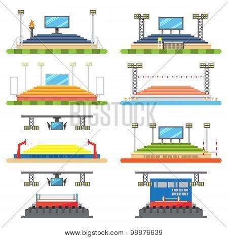 Sport Stadium And Stage Set